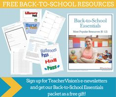 Sign up for TeacherVision's free e-newsletters and get 10 of our most popular #backtoschool resources as a free gift! #k12 #freebies