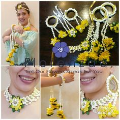 Fresh flower jewellery by Florenzaa flowers Order my WhatsApp no- 7874133176 Flower Jewellery For Haldi, Flower Jewelry, Bridal Mehndi Dresses, Bridal Henna, Flower Ornaments, Bridal Flowers, Jewelry Patterns, Flower Decorations, Making Ideas