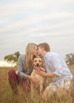 22 Engagement Photos With Dogs That Will Melt Your Heart | Photo by: Amie Reinholz | TheKnot.com
