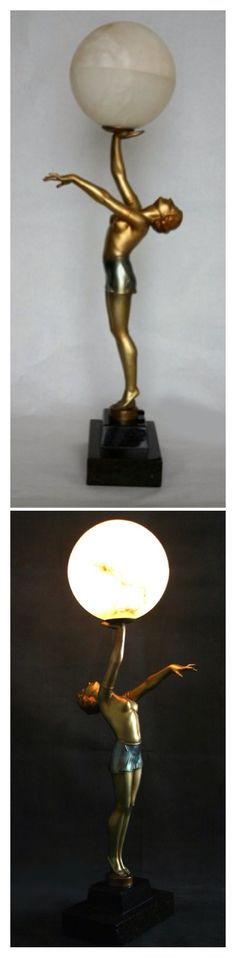 Art Deco figurines and lamp