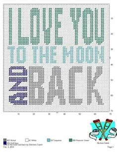 LOVE TO THE MOON AND BACK by STITCHERS CRUTCH -- WALL HANGING