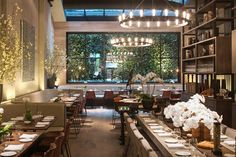 The dining area at Tutto Il Giorno TriBeCa, the newest offshoot of Gabby Karan and Gianpaolo DeFelice's Hamptons favorite.