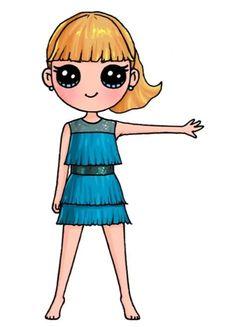 Kawaii Girl Drawings, Cute Disney Drawings, Cute Easy Drawings, Cute Little Drawings, Cute Girl Drawing, Cartoon Girl Drawing, Cute Animal Drawings, Girl Cartoon, Cute Cartoon
