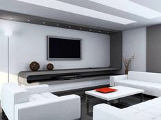 14+ Chic and Modern TV Wall Mount Ideas for Living Room - Silver and white TV wall mount ideas