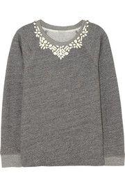 J.CrewCrystal-embellished cotton-terry sweatshirt