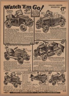 CADILLAC MACK TRUCK FIRE CAR ANTIQUE SEARS ROEBUCK PEDAL CARS ADVERTISING PRINT