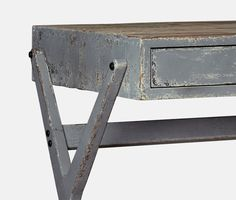 Desk, shabby chic style in pewter grey