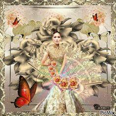 Donna giapponese con fiori e farfalle