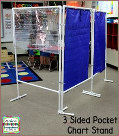Directions for making a cheap DIY 3 sided pocket chart stand for the classroom. Save space and create more work space with this DIY pocket chart stand. Classroom Hacks, New Classroom, Classroom Design, Kindergarten Classroom, Classroom Organization, Classroom Decor, Classroom Management, Classroom Posters, Organization Ideas