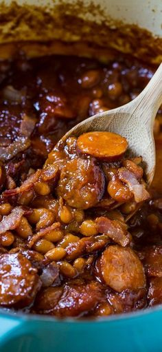 The Neely's Baked beans with smoked sausage. This is my very favorite baked bean recipe! The Neely's Baked beans with smoked sausage. This is my very favorite baked bean recipe! Smoked Sausage Recipes, Baked Bean Recipes, Pork Recipes, Crockpot Recipes, Cooking Recipes, Healthy Recipes, Cooking Tips, Smoked Sausages, Baked Beans Recipe With Sausage