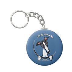White Black Greyhound IAAM Keychains