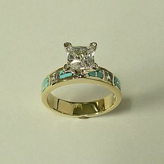 14 karat yellow gold Engagement Ring with Diamond and Natural Turquoise Inlay. My friend would have loved this.