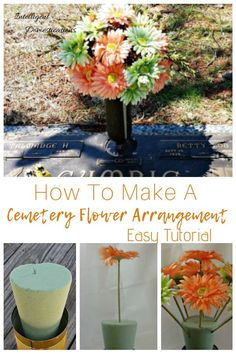 How to make your own Grave Decorations. Easy tutorial for DIY Cemetery Flowers using fake flowers. Step by step photos with instructions and supply list. Grave Flowers, Cemetery Flowers, Funeral Flowers, Diy Flowers, Paper Flowers, Cemetery Vases, Flower Ideas, Funeral Flower Arrangements, Vase Arrangements