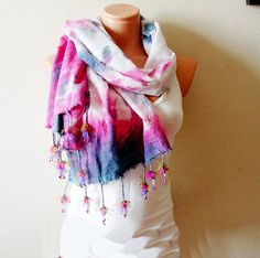 Tie dyed White Cotton Scarf with handmade by boutiqueseragun, $36.00