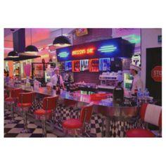 Bright Neon Retro Diner Vintage Restaurant Trendy Wood Poster