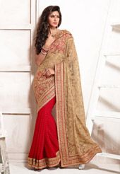 Beige and Red Net and Faux Chiffon Saree with Blouse