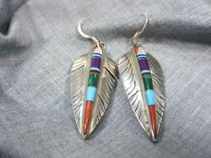 Native American Sterling Silver Turquoise Spiny Oyster Sugilite Inlay Earrings