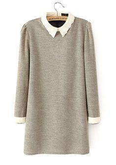 ++ light grey patchwork above knee flax blend dress