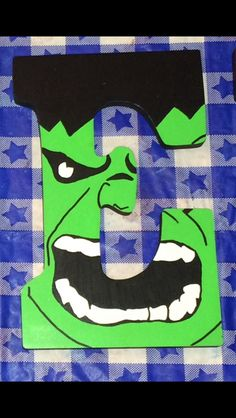 """Decorated Wooden Letter """"E"""" Avengers Themed: The Hulk"""