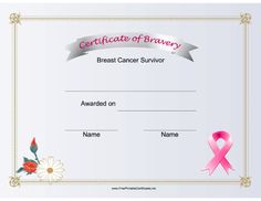 This certificate of bravery with a pink ribbon honors a breast cancer survivor. Free to download and print