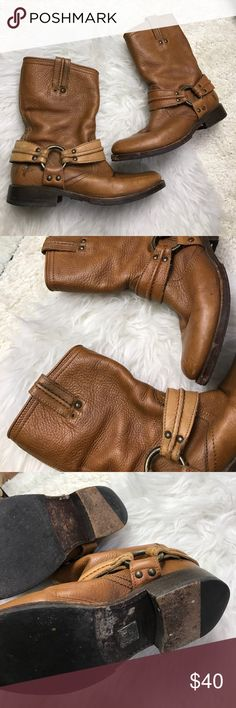 FRYE SZ 6.5 LEATHER TAN BOOTS SHOES BOOTIES Awesome FRYE boots missing one small piece of hardware as shown in photo 2 Frye Shoes