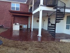Installed an outdoor kitchen with stamped and stained concrete Flower Bed Edging, Drainage Solutions, Landscape Services, Landscaping Company, Stained Concrete, Outdoor Kitchens, Outdoor Living Areas, Fort Worth, Landscape Design