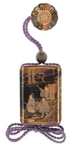 KOMA KORYŪ 古満巨柳 INRŌ WITH COURTIERS AND OX-CART 公家牛車蒔絵印籠 Edo period (1615–1868), 19th century