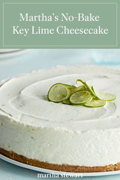 dessert recipes This easymousse-like treat blends the tartness of Key lime pie with the richness of cheesecake. Its graham-cracker crust sets in the freezer rather than the oven, and t Mini Desserts, Key Lime Desserts, Easy No Bake Desserts, Delicious Desserts, Dessert Recipes, Easy No Bake Recipes, Homemade Desserts, No Bake Key Lime Cheesecake Recipe, Keylime Pie Recipe