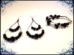 Black beads earring with matching bracelet