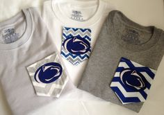 Penn State Monogram Pocket T Shirts by BowsToButtons on Etsy