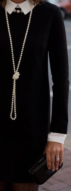 How to style a black dress for day to night - classic style via Chic♡ Classic Style, Style Me, Classic Beauty, Mode Chanel, Chanel Style, Long Pearl Necklaces, Diamond Necklaces, Mode Outfits, Night Outfits