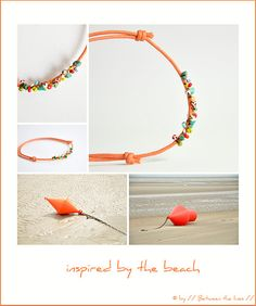 ... I made this bracelet the other night inspired by the red, orange and yellow buoys on the beach.  Very easy to make if you have needle ...