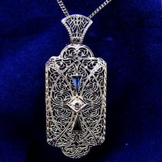 "Antique Edwardian 14K White Gold Diamond & Sapphire Filigree Convertible Pin Pendant.  See me at the ""Vintage Jewelry Star"" shop at http://www.rubylane.com/shop/vintagejewelrystar!!"