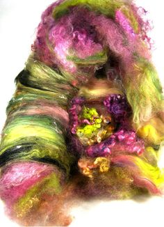 Orchid Citrine Wild Card Bling Batt for Spinning and by yarnwench, $30.00