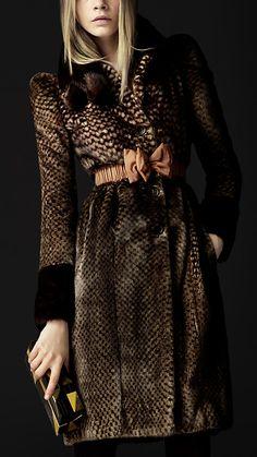 Burberry - Printed Fur Coat