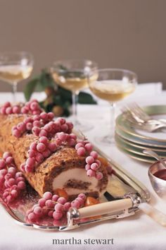 An opulent, fruity rolled cake, made with dried figs and currants, is filled with a luxurious mascarpone cream. No frosting is necessary, frozen grapes or currants are all the decoration needed. #marthastewartliving #holidaydessert #easydessertrecipe #easyrecipes Best Christmas Desserts, Christmas Cake Decorations, Christmas Cakes, Christmas Treats, Dried Figs, Noel Christmas, Xmas, Christmas Lunch, Party