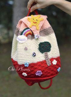 Crochet school bag children bag handmade bag crochet by Ouplexeis