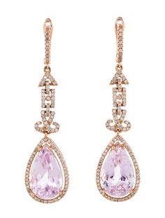 1.15ctw Diamond and Kunzite Earrings
