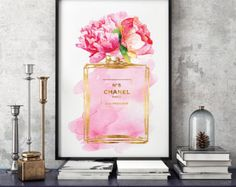 Fashion illustration perfume inspired watercolor size choice Blue wall art poster wall art, perfume art, fashion gift, gift for, make up Tube Carton, Chanel Poster, Chanel Art, Rainbow Fashion, Illustration Mode, Shops, Gold Foil Print, Poster Prints, Art Prints