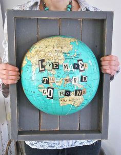 Several ideas for using globes in different ways: decorative bowls, lamp shades and wall art. Now....just find globes at Goodwill.