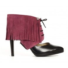 Sharon Fringe bordeaux red Molinis. Style your pumps with Molinis shoe accessory