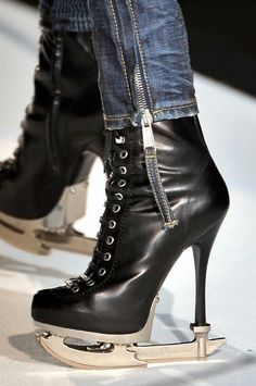 Dsquared 'Ice Skate' Boot In Black Weird Fashion, Fashion Shoes, Crazy Shoes, Me Too Shoes, Hockey Wife, Vip Fashion Australia, Sports Mom, Platform High Heels, Ice Skating