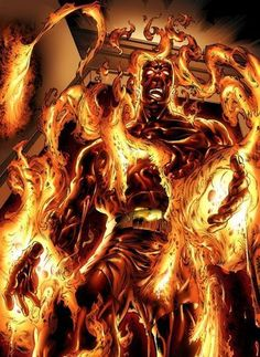 """Molten Man (Mark Raxton) (Human/Empowered) (New York City, New York, U.S.A.) Security guard for Osborn industries; former criminal, lab assistant. Superhuman Strength. Highly skilled safe cracker, chemical engineer. Formidable combatant. 6' 5"""" tall."""