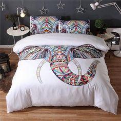 2017 Elephant 3Pcs 3D Sham Boho bedding sets Mandala duvet cover set winter Pillowcase queen king size Bedlinen sj56