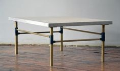 Marble coffee table reclaimed from old BMO facade in Toronto - Castor