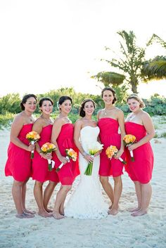 You can never go wrong with coral bridesmaid dresses for a tropical wedding