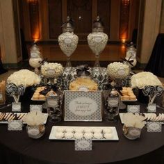 34 Best Wedding Table Display Ideas That Make Beauty Your Party - weddingtopia Wedding Candy Table, Art Deco Wedding Theme, Candy Bar Party, Buffet Wedding, Hotel Wedding, Dream Wedding, Dessert Buffet Table, Lolly Buffet, Candy Buffet Tables