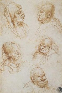 da Vinci Leonardo - Five Studies of Grotesque Faces