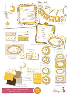 Precious Bear  Baby Shower DIY Printable by OneMagicDayPrintable, $55.00