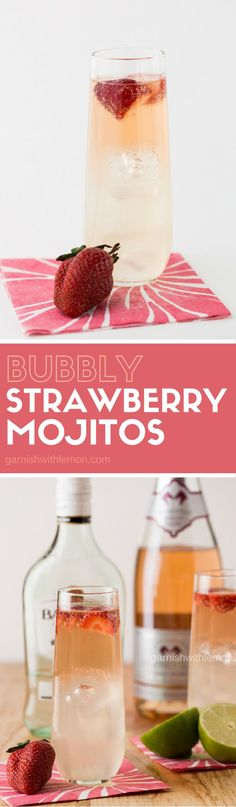 Don't wait until spring berries are in season! These Bubbly Strawberry Mojitos are welcome any time of year!
